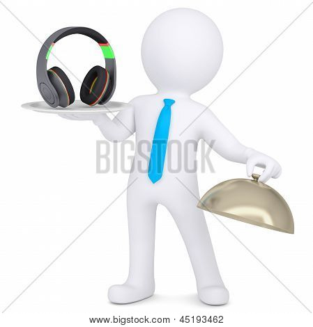 3d man holding headphones on a platter