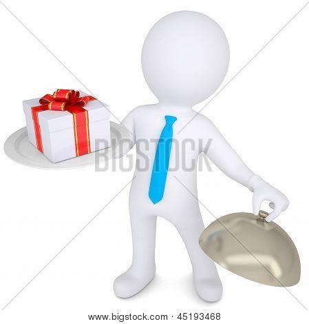 3d man holding a gift box on platter