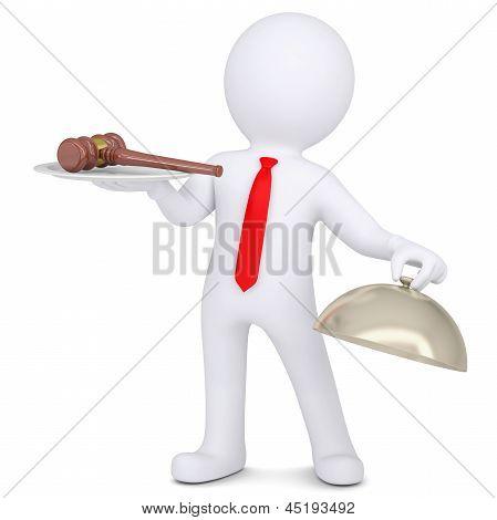 3d man holding a gavel on a platter