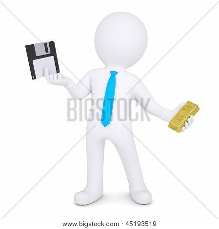 3d man changes floppy disk on gold