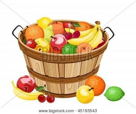 Wooden basket with various fruits. Vector illustration.
