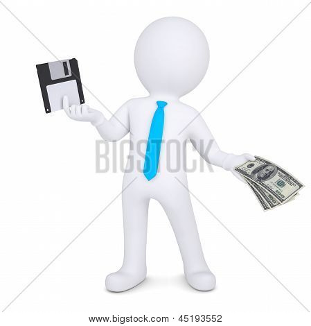 3d man changes the floppy disk on the money