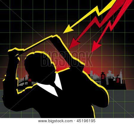 Concepto de la crisis financiera. Hombre de negocios de Vector escondidos bajo el portátil