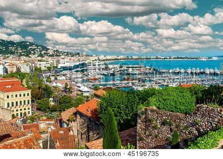 Panoramic View Of Le Suquet- The Old Town And Port Le Vieux Of Cannes, France