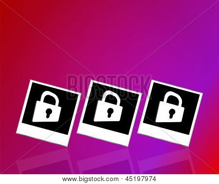 Set Of Empty Photos And Padlock On Abstract White Background