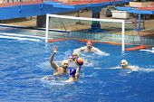 MOSCOW - APR 20: Game in front of goal in match on water polo of Olympic Sports complex, on April 20
