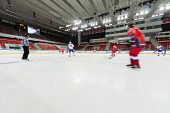 MOSCOW - APR 28: Hockey players are preparing for closing ceremony of the championship season of 201