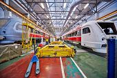 MYTISHCHI - APR 18: Assembly of rail buses in shop floor at  Mytishchi Metrovagonmash factory, April