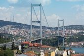 ISTANBUL - JUL 3: Landscape with Ataturk Bridge (Bosphorus Bridge) on July 3, 2012 in Istanbul, Turk