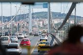 ISTANBUL - JUL 3: View from car on Ataturk Bridge (Bosphorus Bridge) on July 3, 2012 in Istanbul, Tu