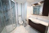 ALANYA - JULY 4: Bathroom in My Marine Residence residential complex in Alanya, Turkey, on July 4, 2