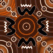 picture of aborigines  - A illustration based on aboriginal style of dot painting depicting difference - JPG