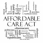 pic of mandates  - Affordable Care Act Word Cloud Concept in black and white with great terms such as healthcare reform exchanges insurance law and more - JPG
