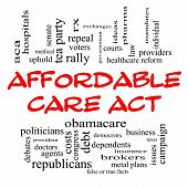 stock photo of politician  - Affordable Care Act Word Cloud Concept in Red Caps with great terms such as healthcare reform exchanges insurance law and more - JPG