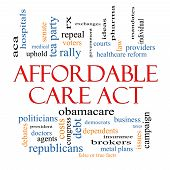 foto of debate  - Affordable Care Act Word Cloud Concept with great terms such as healthcare reform exchanges insurance law and more - JPG