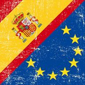 Spanish and european grunge Flag. flag of european union members