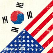 image of south american flag  - USA and south Korean grunge Flag - JPG