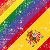 stock photo of gay flag  - Spanish and gay grunge Flag - JPG