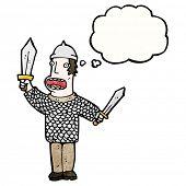 Постер, плакат: мультфильм средневековых солдат с мысли пузырь