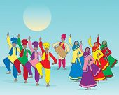 picture of salwar  - an illustration of a punjabi folk dance with men and women in traditional dress and musician on a blue green background - JPG