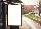 picture of bus-shelter  - Billboard banner empty white at a bus stop - JPG