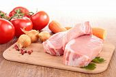 picture of veal meat  - raw meat on board with ingredients - JPG