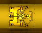 foto of bank vault  - 3D render of a gold bank vault - JPG