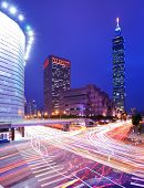 TAIPEI, TAIWAN - JANUARY 11: Traffic speeds by Taipei 101 in the Xinyi District January 11, 2013 in