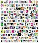 stock photo of newspaper  - Over 200 vector cut newspaper and magazine letters numbers and symbols - JPG