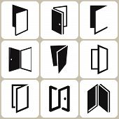 picture of front-entry  - set of various door icons vector illustration - JPG