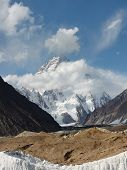 stock photo of skardu  - K2 the second highest mountain in the world in the Karakorum Range Pakistan - JPG