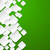 Vector abstract background composed of white paper notes on green. Eps10.