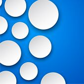 Vector abstract background composed of white paper round notes on blue. Eps10.