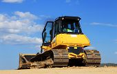 stock photo of bulldozer  - Bulldozer on a construction Site - JPG
