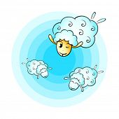 pic of counting sheep  - Counting cheerful cloud sheep for good sleep - JPG