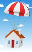 stock photo of parachute  - Illustration of a cartoon small house delivery by parachute air shipping with cloudscape and blue sky background - JPG