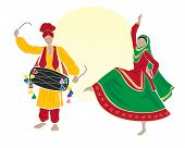 image of salwar-kameez  - an illustration of male and female bhangra dancers dressed in traditional clothes on a white background with a big yellow sun - JPG