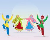 picture of salwar-kameez  - an illustration of punjabi dancers prforming a folk dance in traditional dress on a blue background with a big sun - JPG