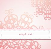 Vintage elegant pink birthday card or wedding invitation with abstract flowers