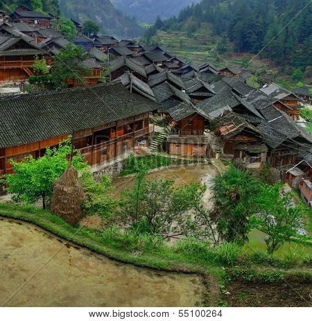 Asian Village In Mountains China, Farm Peasant Farming Wooden Huts.