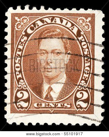 CANADA - CIRCA 1937: A stamp printed in Canada, shows portrait of King George VI (1895-1952), circa 1937