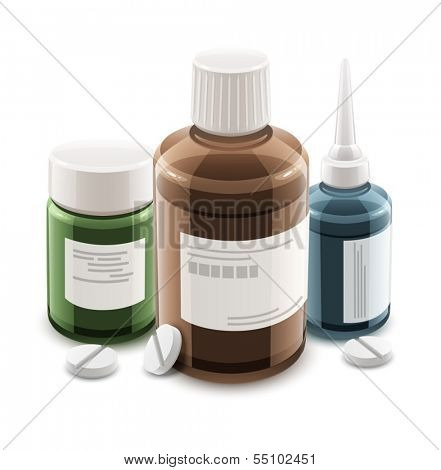 Bottles with medical drugs and pills. Eps10 vector illustration. Isolated on white background