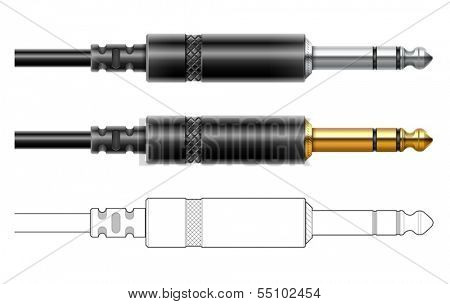 Audio plug for connection sound equipment. Eps10 vector illustration. Isolated on white background