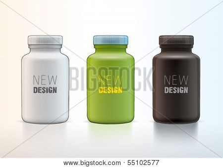 Vector plastic medical container for new design