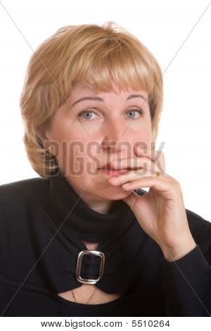 Portrait  Mature Woman In  Black Dress