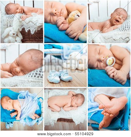 Collage of a sweet newborn baby photos