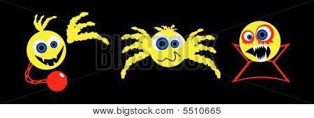 Três de Halloween assustador de Smileys