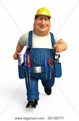 Young Plumber is running with screw driver