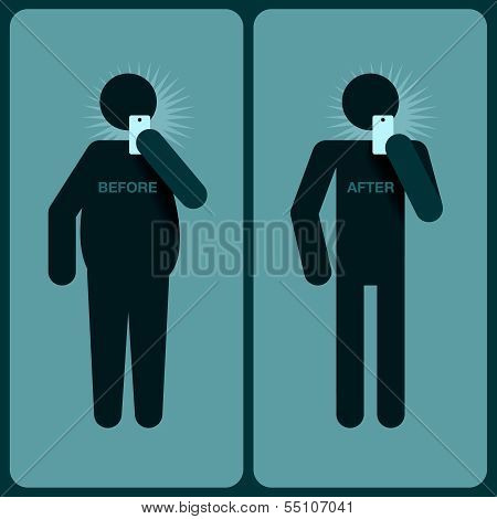 Before and after a diet, silhouette of man