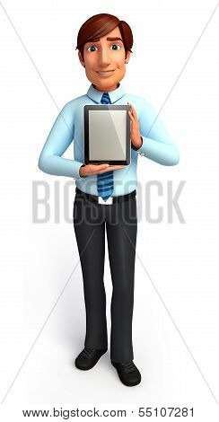 Young Service man with ipad